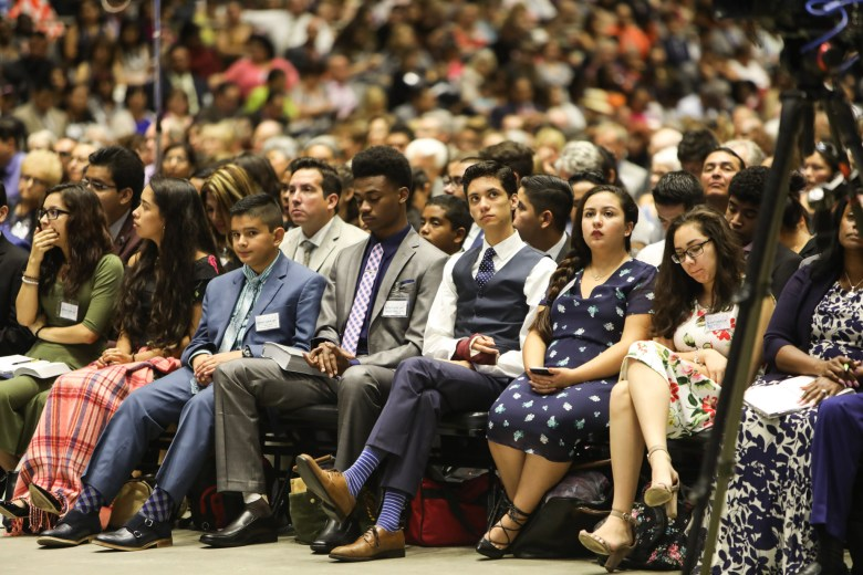 The first few rows in the center aisle are the baptism candidates at the 2017 convention of Jehovah's Witnesses in the Freeman Coliseum.