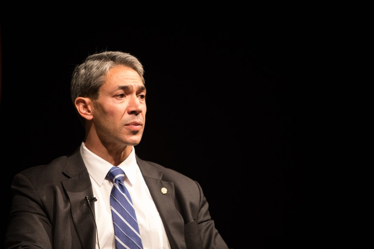 """Mayor Ron Nirenberg looks concerned at """"A Conversation with Mayor Ron Nirenberg"""" at UTSA Downtown Campus Buena Vista Street Building Theater."""