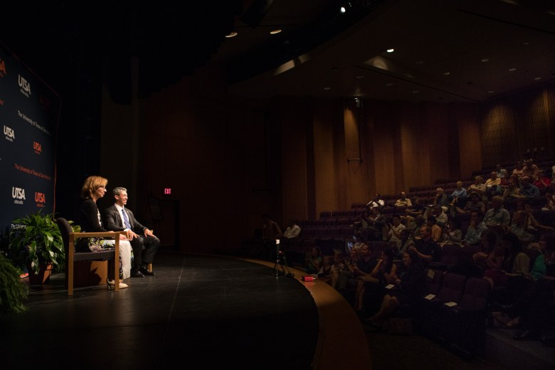 """(From left) UTSA Associate Professor and UTSA College of Public Policy Associate Dean Francine Romero and Mayor Ron Nirenberg participate in a question and answer on stage at """"A Conversation with Mayor Ron Nirenberg"""" at UTSA Downtown Campus Buena Vista Street Building Theater."""