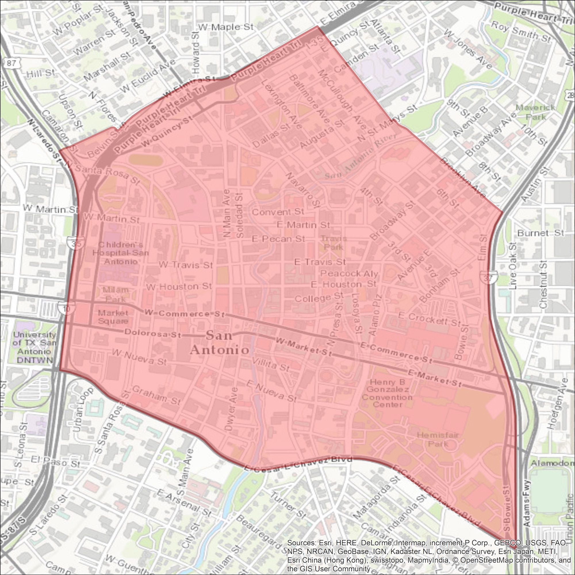 The U.S. Census boundaries for San Antonio's central business district.