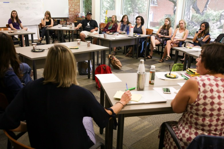 Students of the Trinity University Master of Arts in Teaching (MAT) on their first day of class.