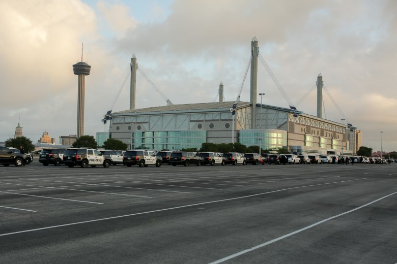 Law enforcement officers from across Texas and beyond arrived at the Alamodome early Friday morning for the procession honoring fallen SAPD Officer Miguel Moreno.