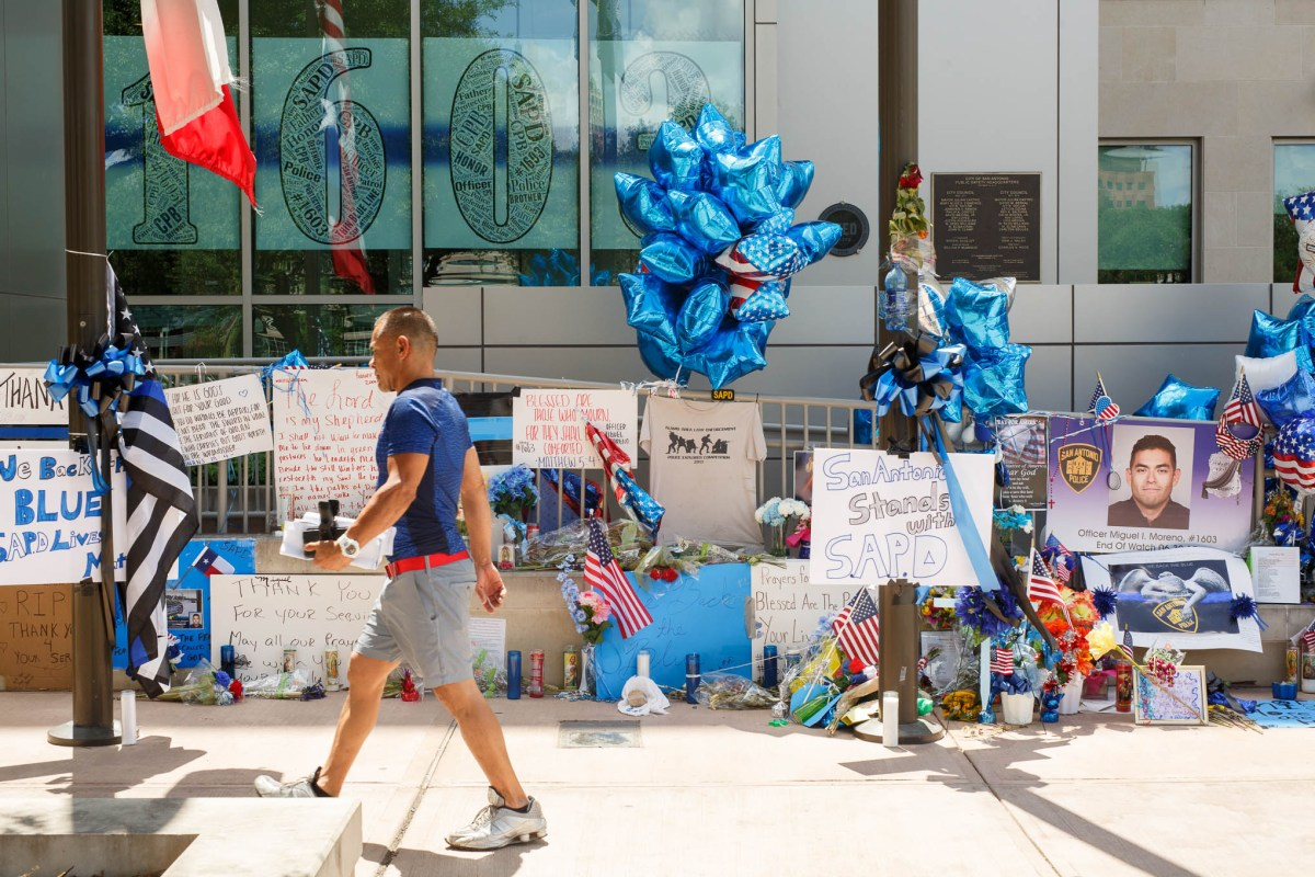 The memorial of Officer Miguel Moreno outside the entrance to the San Antonio Public Safety Headquarters.