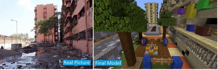 Minecraft's pixelated building blocks are easy to manipulate into virtual replicas of actual urban spaces that can be altered to include trees, benches and other features.