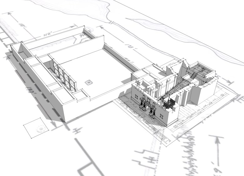 nitial 3D rendering of the Alamo church, long barracks and cattle pens from architectural blueprints.