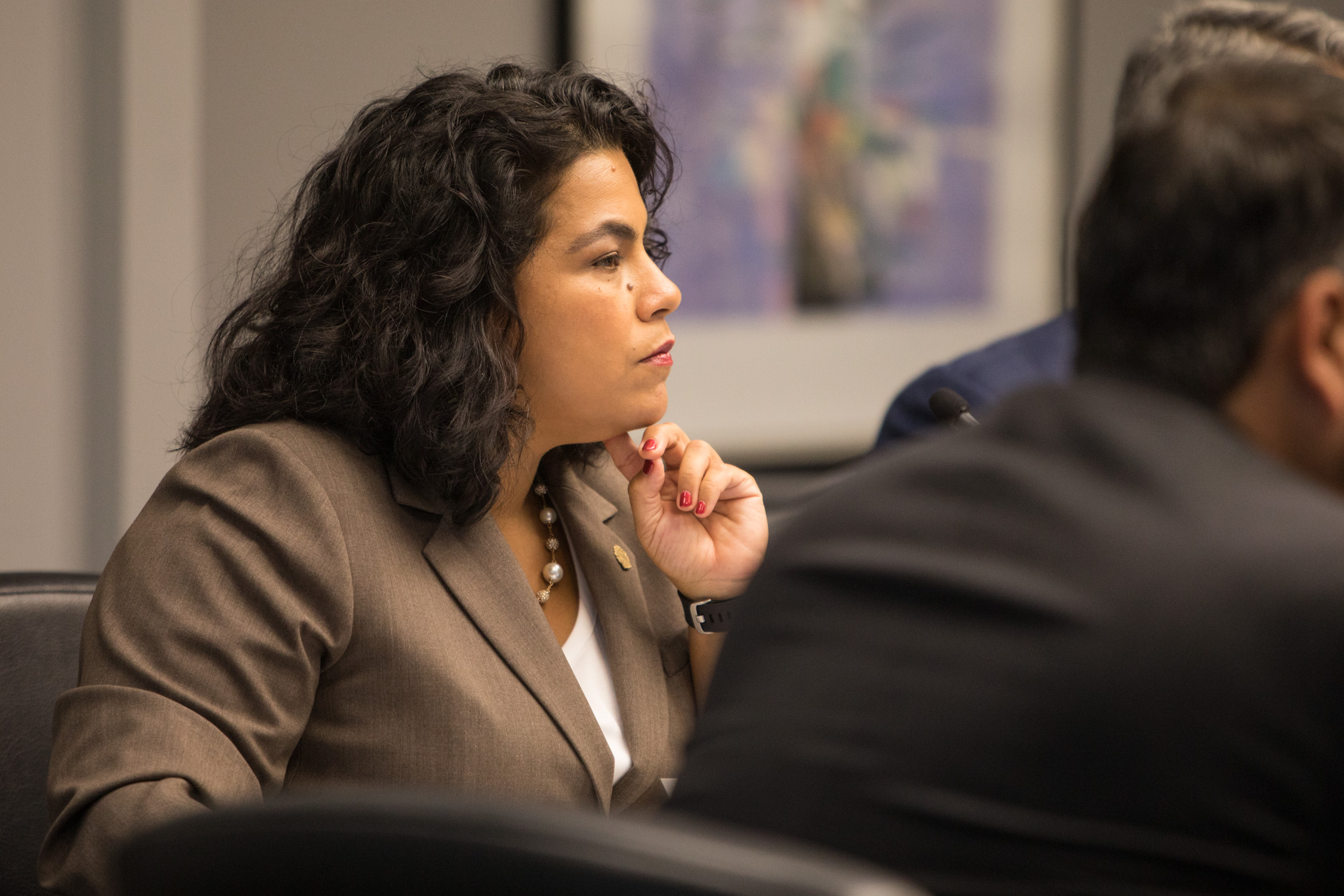 Councilwoman Rebecca Viagran (D3) listens to a presentation by SAWS President & CEO Robert Puente at City Council B Session.