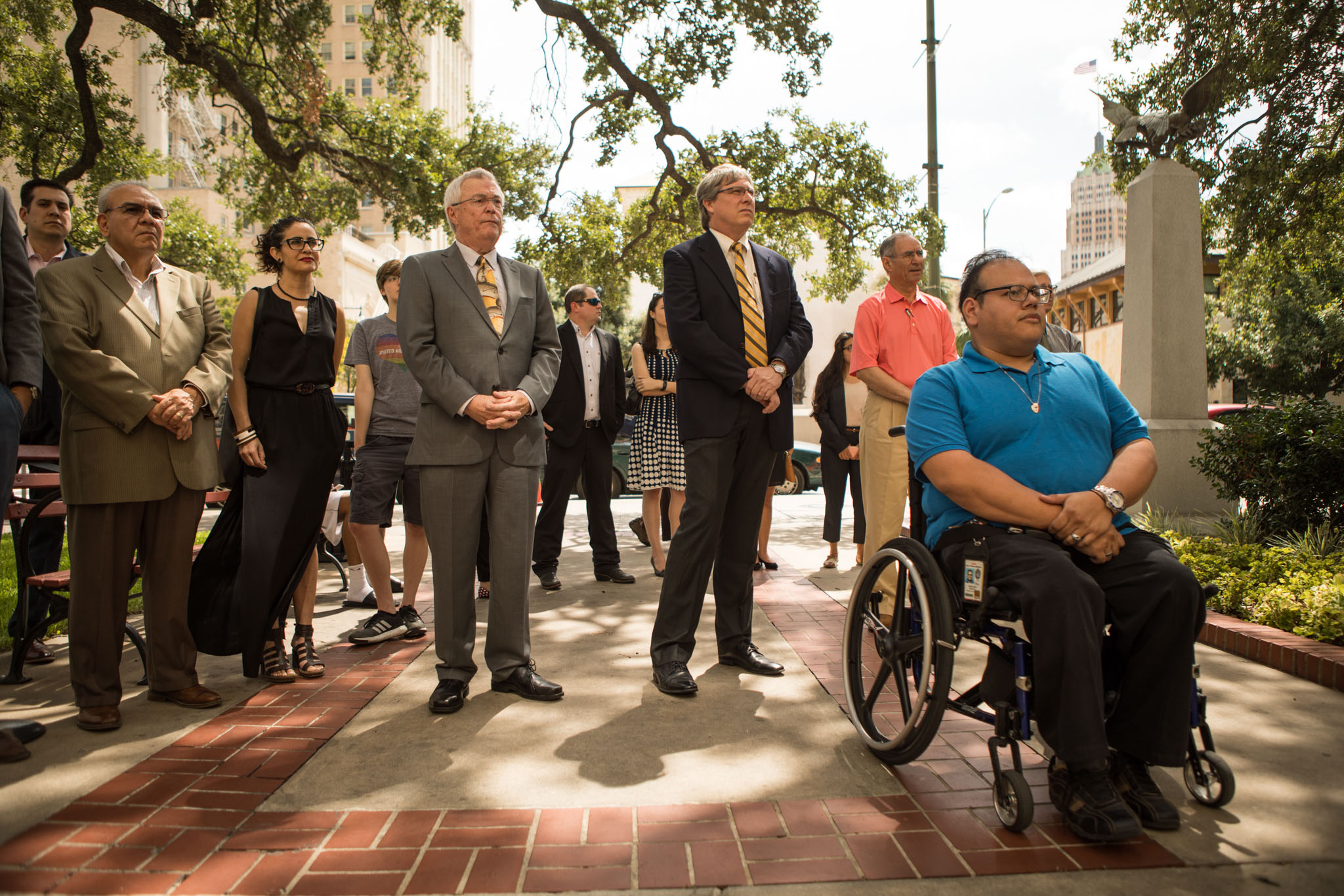 Abraham Robles (right) attends the announcement of the winner of City Hall For All Design Competition, which will provide a more accessible entry to City Hall for those who are handicapped.