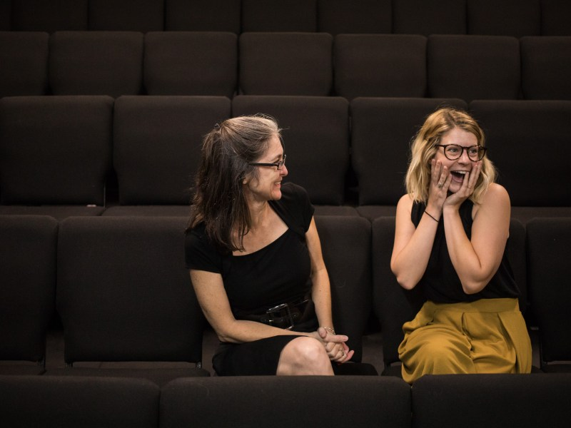 (From left) The Classic Theatre of San Antonio Executive Director Kelly Hilliard Roush and Education Director Kacey Roye share a funny moment in the theatre area.