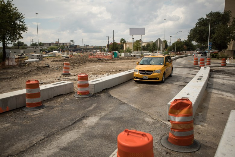 Main, Navarro, and San Pedro Roundabout is under construction.