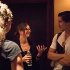 Nathan Felix (right) socializes before his presentation at PechaKucha Vol. 27 at the Charline McCombs Empire Theatre.