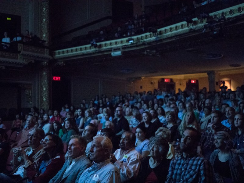 A large crowd fills Charline McCombs Empire Theatre to watch PechaKucha Vol. 27.