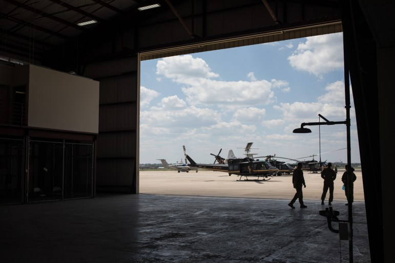 Helicopters prepare to dispatch at Port San Antonio to aid in the rescue efforts of Harvey.
