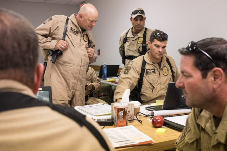 US Customs and Border Protection Air and Marine Operations converts the conference room at Port San Antonio to the operations center in the efforts to aid those affected by Harvey.