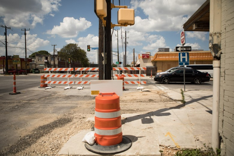 Construction is taking place to expand Frio Street.