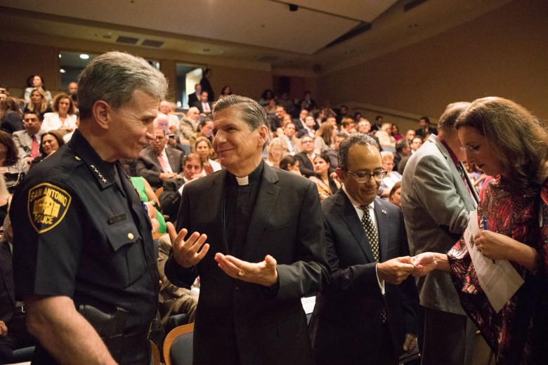 (From left) Police Chief William McManus, Archbishop Gustavo-García-Siller, and Consul General of Mexico in Austin Carlos González Gutiérrez socialize before the San Antonio-Mexico Friendship Council reception in honor of Ambassador Reyna Torres Mendivil at the Mexican Cultural Institute.