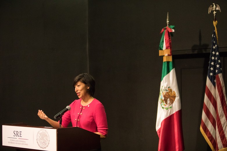 Councilwoman Ana Sandoval (D7) speaks at the San Antonio-Mexico Friendship Council reception in honor of Ambassador Reyna Torres Mendivil at the Mexican Cultural Institute.