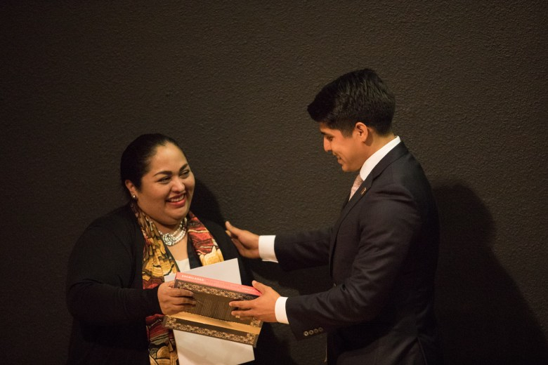 Ambassador Reyna Torres Mendivil receives a gift by Councilman Rey Saldaña (D4) at the San Antonio-Mexico Friendship Council reception in honor of Ambassador Reyna Torres Mendivil at the Mexican Cultural Institute.