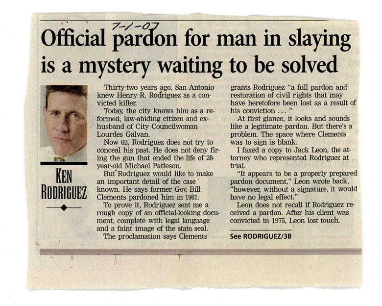 An Express News clipping from Ken Rodriguez.