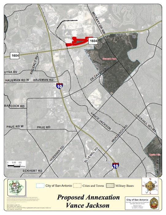 City staff recommended the annexation of an area near Vance Jackson Road.