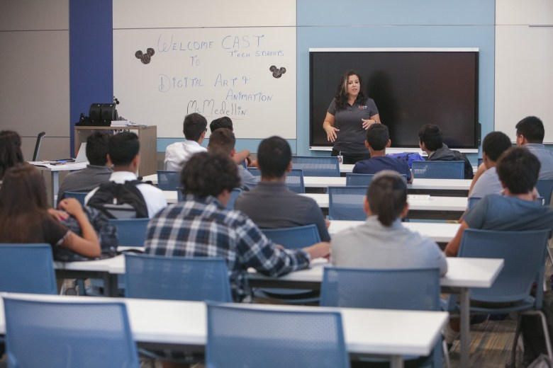 Digital Art and Animation teacher Ms. Medellin welcomes students to CAST Tech.