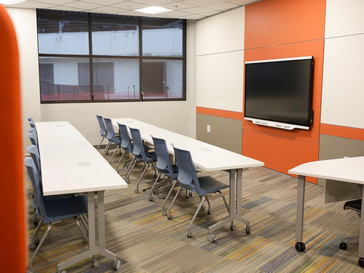 An empty classroom at CAST Tech High School.