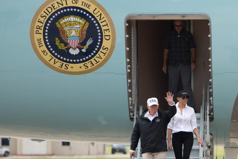 President Donald Trump and First Lady Melanie Trump arrive at Corpus Christi International Airport.