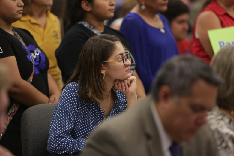 Ruby Palanco at the SAISD Board Meeting on Monday evening.