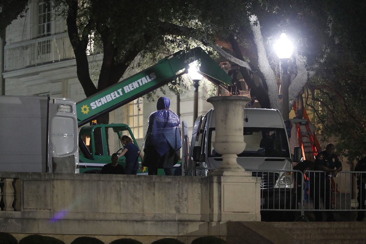 Late Sunday night, Aug. 20, 2017, UT-Austin announced it would take down three Confederate statues on campus. A statue of former Texas Gov. James Stephen Hogg (shown here) was also removed.