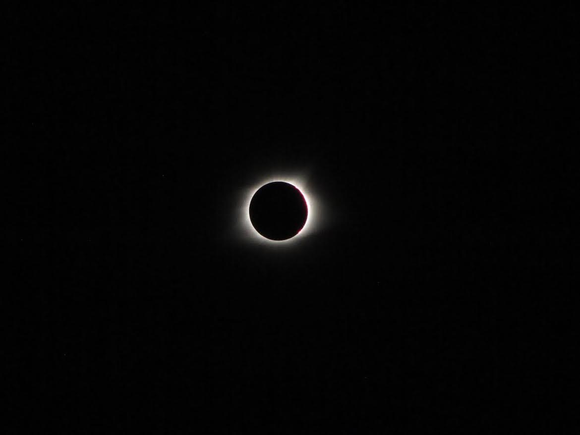 The total solar eclipse was visible only for a few seconds at a time in Carbondale, Ill.