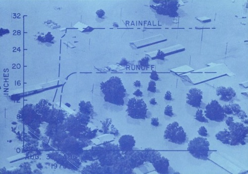 """This image of flooding was used on the cover of U.S. Geological Survey report """"Floods in Central Texas, August 1978."""""""