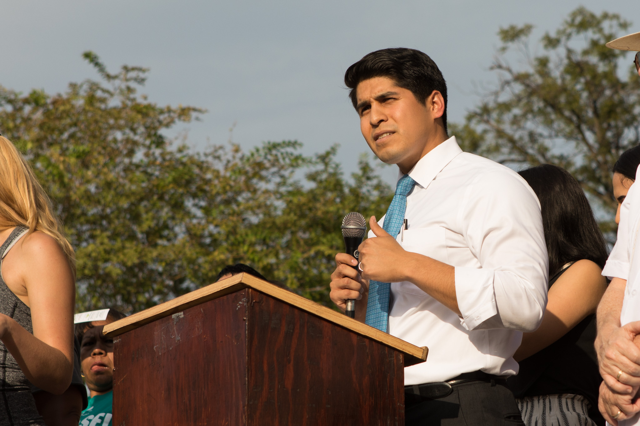Councilman Rey Saldaña (D4) speaks in support of DACA in front of the John H. Wood Federal Courthouse.