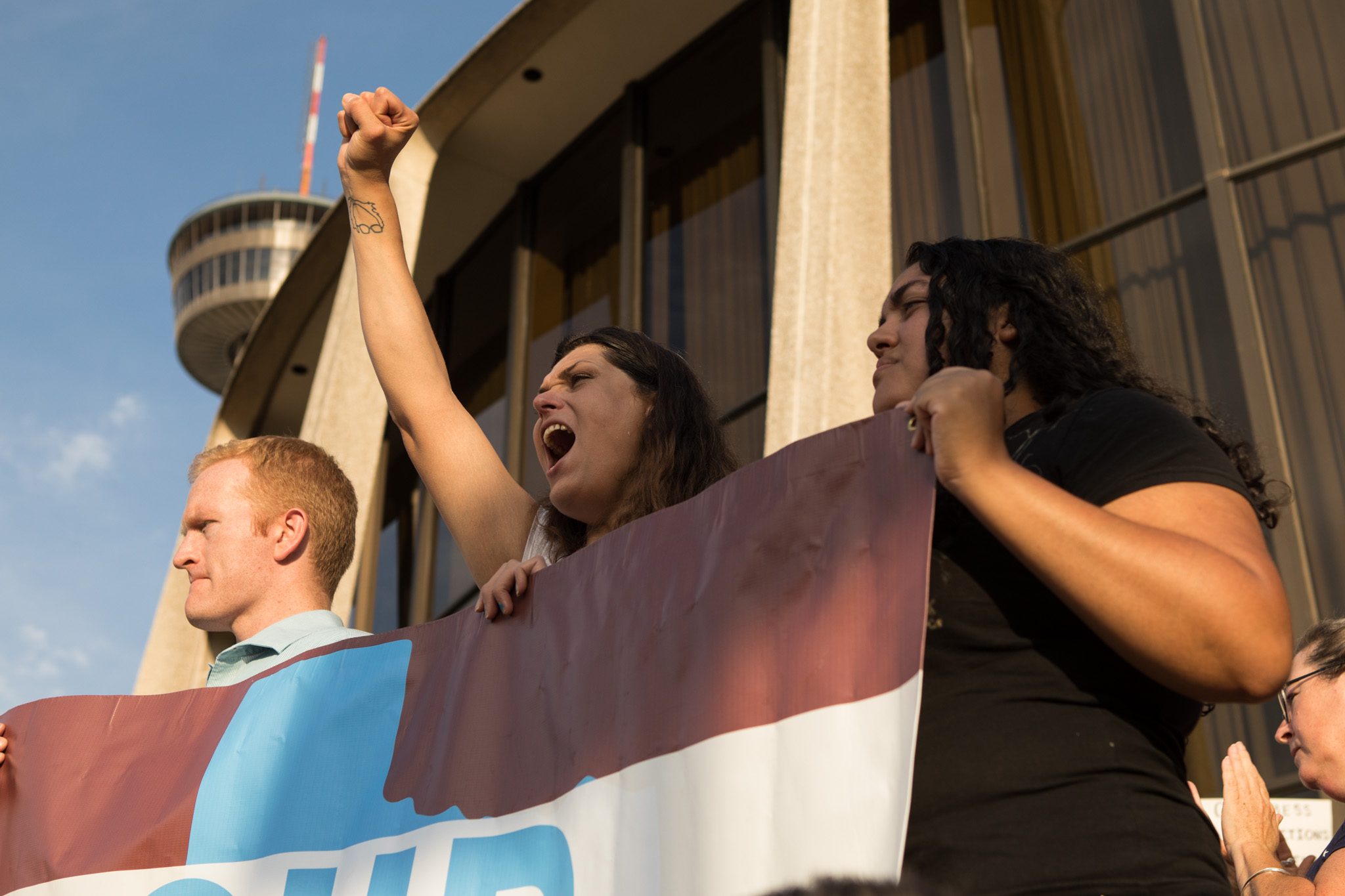Protestors yell in support of the Deferred Action for Childhood Arrivals (DACA) program.