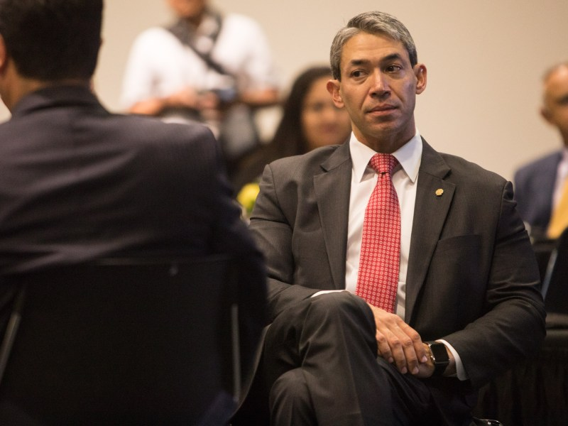 Mayor Ron Nirenberg sits in the audience at NAFTA 2.0: The Future of North American Trade at St. Mary's University.