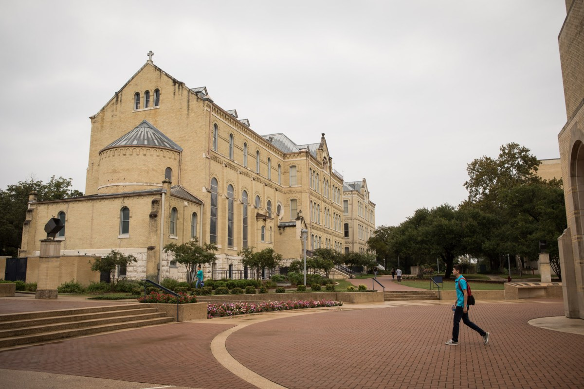 A student walks through St. Mary's University campus.
