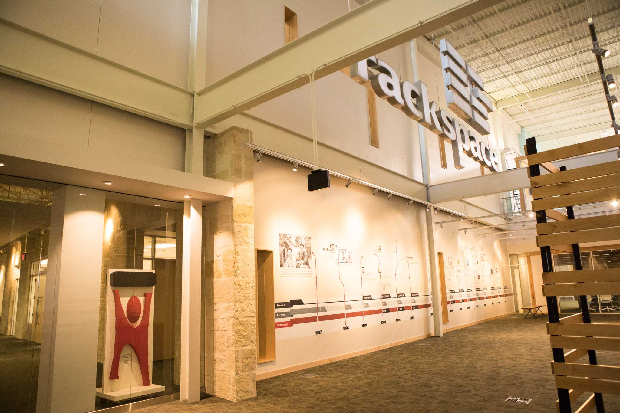 A timeline of the history of Rackspace lines the main lobby.
