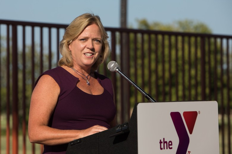 YMCA of Greater San Antonio President and CEO Sandy Morander welcomes the public to the Harvey E. Najim Family YMCA.