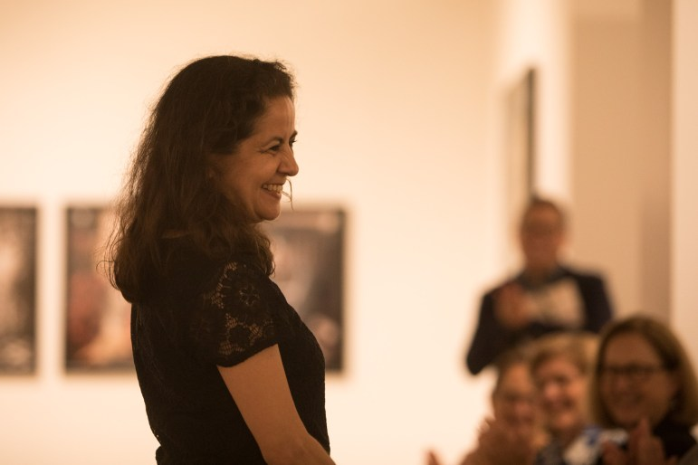 Distinction in the Arts Dance Honoree Belinda Menchaca thanks the audience at the Third Annual Distinction in the Arts honoree announcement at the Centro de Artes Gallery.