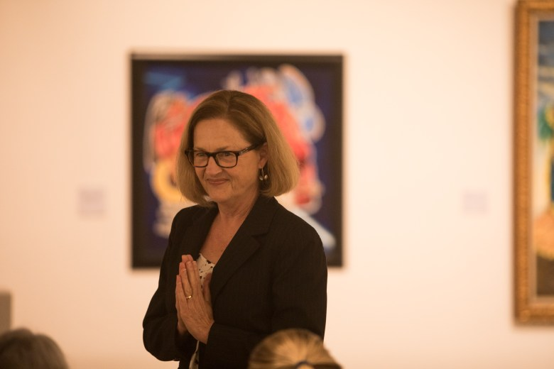Distinction in the Arts Arts Administration Honoree Paula Owen thanks the audience at the Third Annual Distinction in the Arts honoree announcement at the Centro de Artes Gallery.