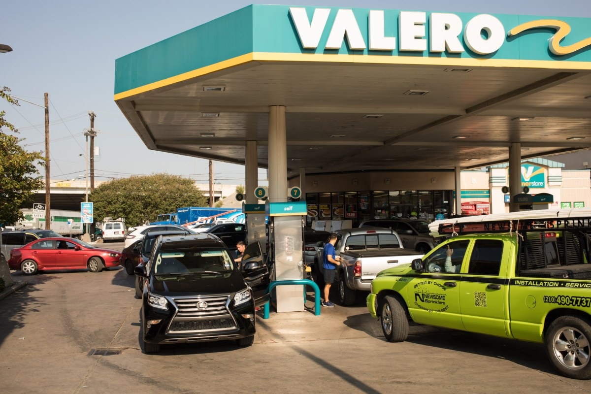 The Valero on the corner of Josephine Street and Broadway Street is packed with cars, a response to rumored gas shortages across San Antonio.