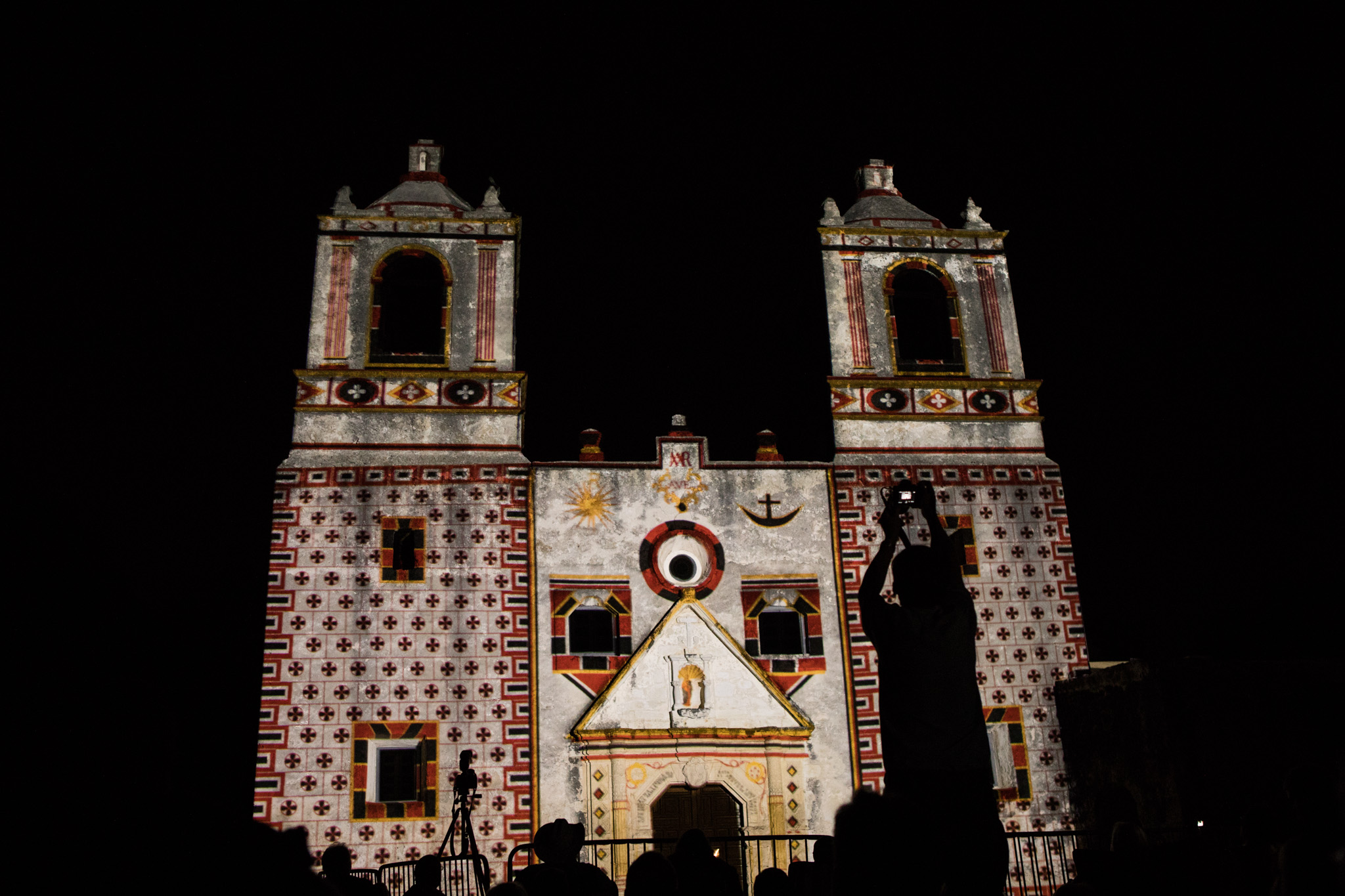 Mission Concepción is lit up to recreate the facade's original designs during Restored By Light.