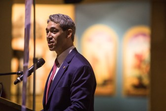 Mayor Ron Nirenberg acknowledge the importance of the arts at the Museum Month press conference at the Institute of Texan Cultures.