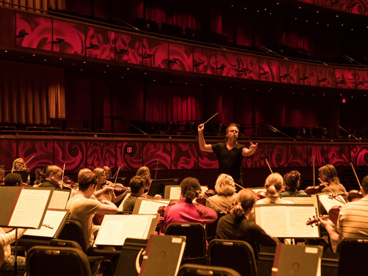 San Antonio Symphony Music Director Sebastian Lang-Lessing leads musicians during a rehearsal for an upcoming concert at the Tobin Center.