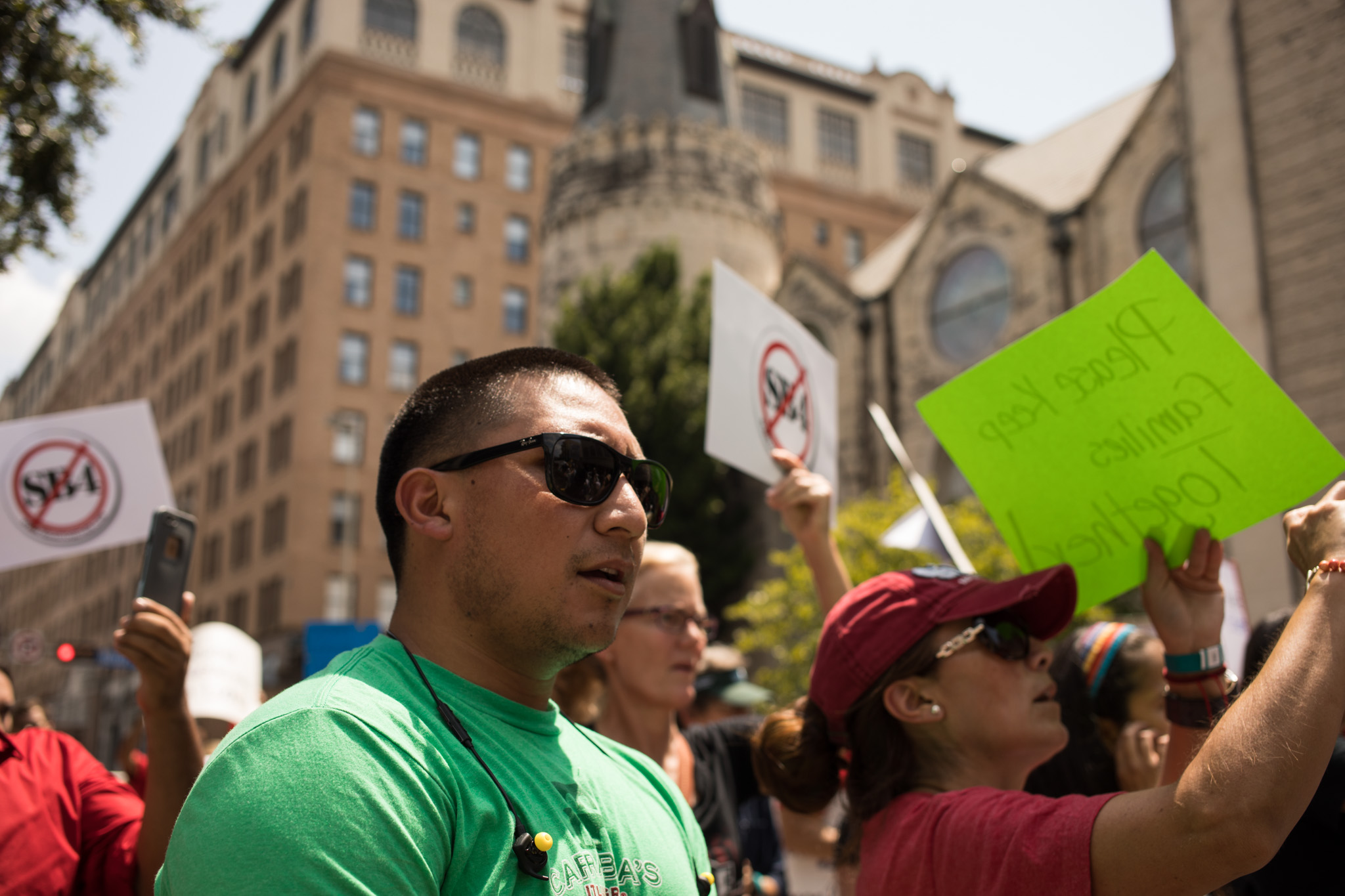 Diego Mancha Dominguez walks with the group of protesters against SB4.
