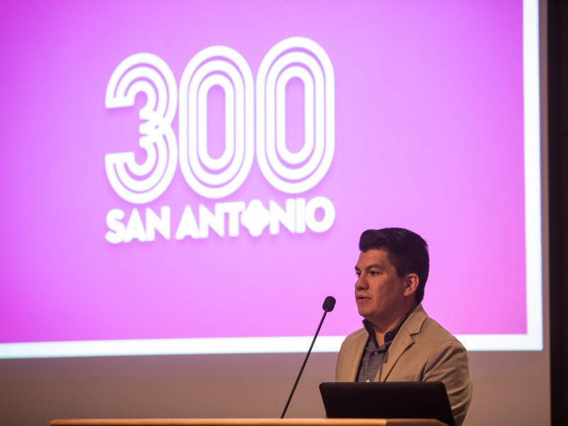 Tricentennial Commission CEO Edward Benavides gives welcoming remarks during the Tricentennial Celebration Commission meeting at the San Antonio Central Library.