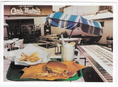 An old post card featuring Chris Madrid's burger joint.