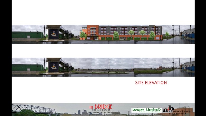 """This site elevation shows how tall """"The Bridge"""" project is in relation to the Hays Street Bridge."""