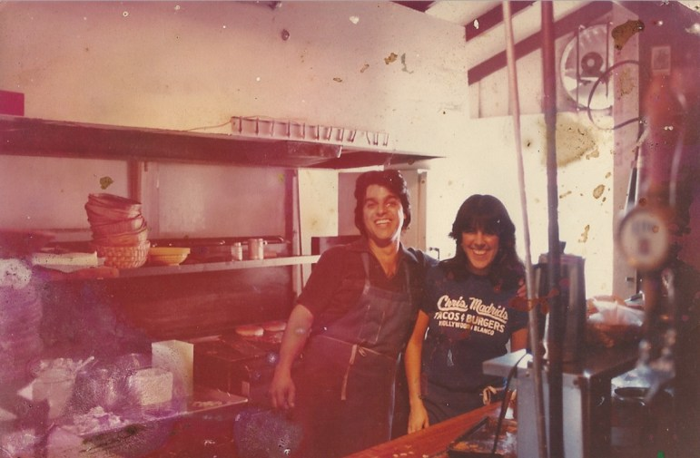 Chris Madrid and his sister Diana in the kitchen c. 1980s.