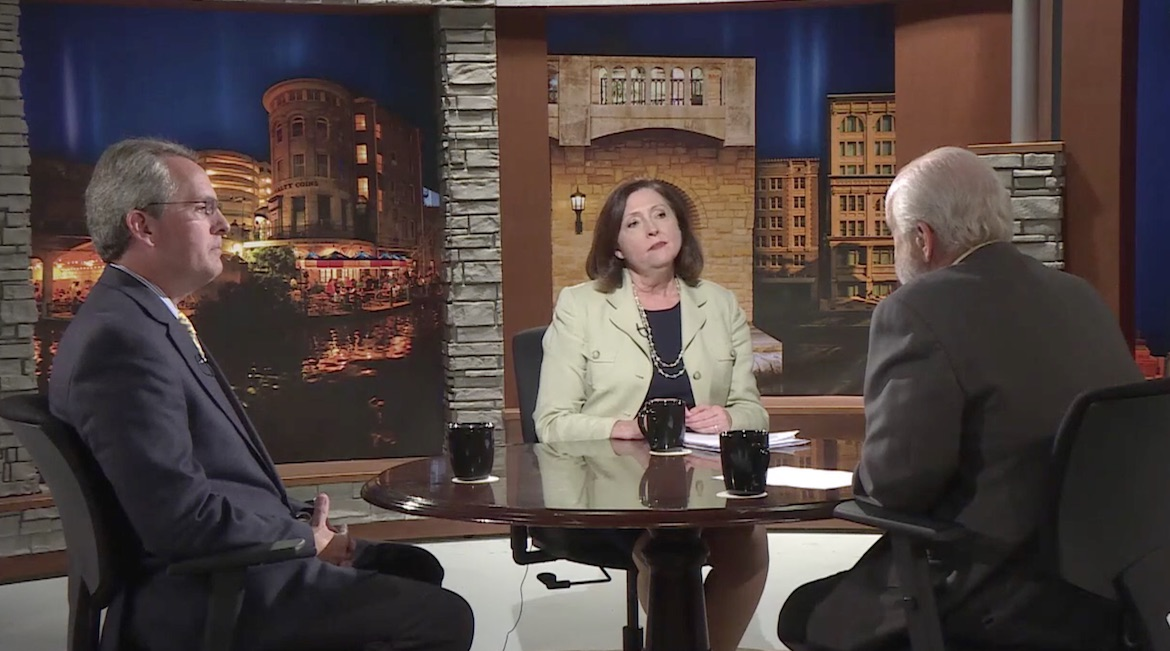 """Rick Casey (right) interviews San Antonio River Authority General Manager Suzanne Scott (center) and Assistant General Manager Stephen Graham (left) for Texas Week with Rick Casey on Sept. 1, 2017 """"Prepping for Megastorms."""""""