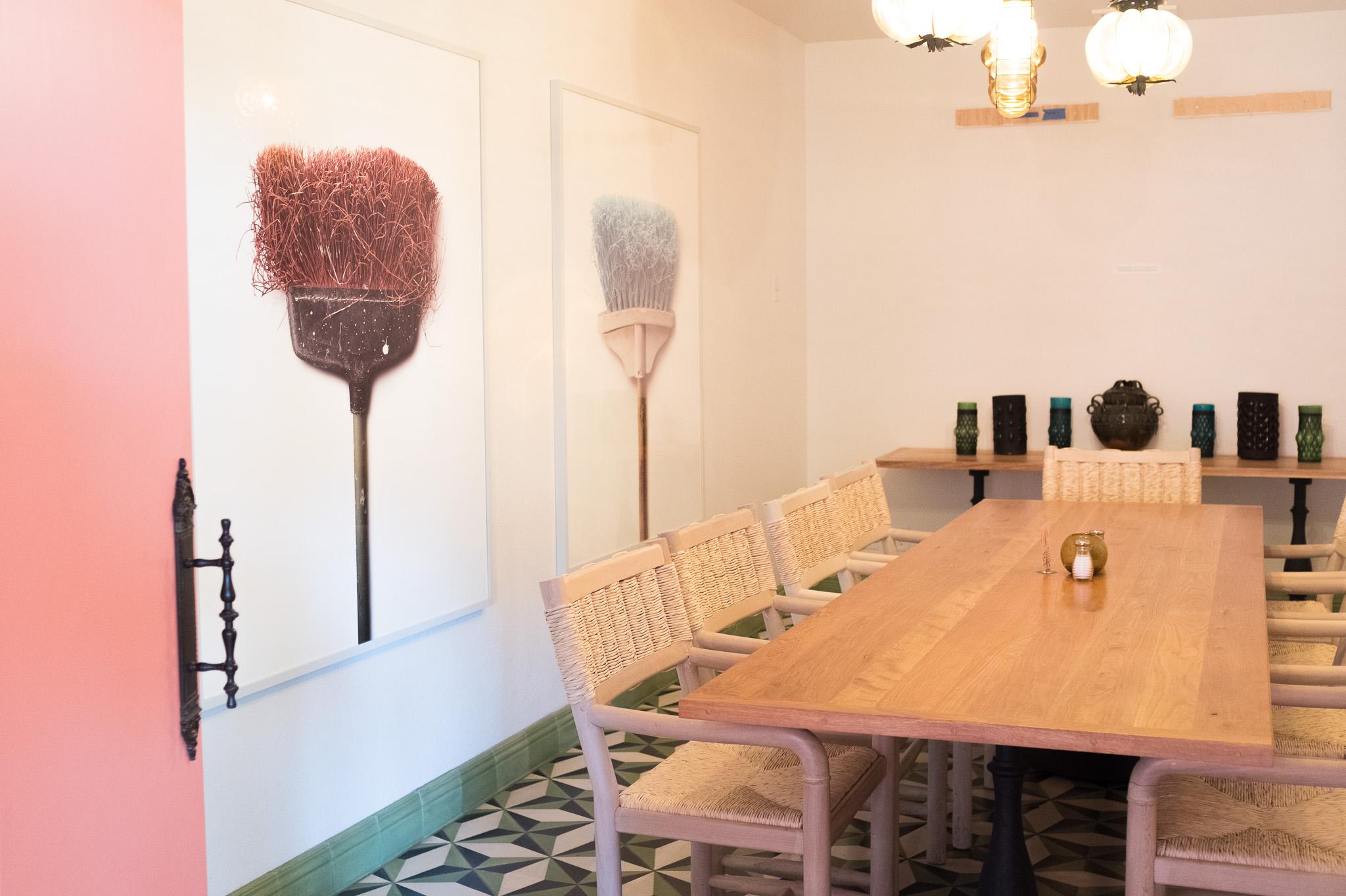The 'Broom Room' at El Mirador Mexican Restaurant featuring work by Chuck Ramirez.