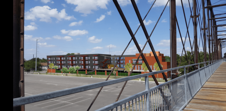 "This rendering shows ""The Bridge"" mixed-use project as seen from the Hays Street Bridge."